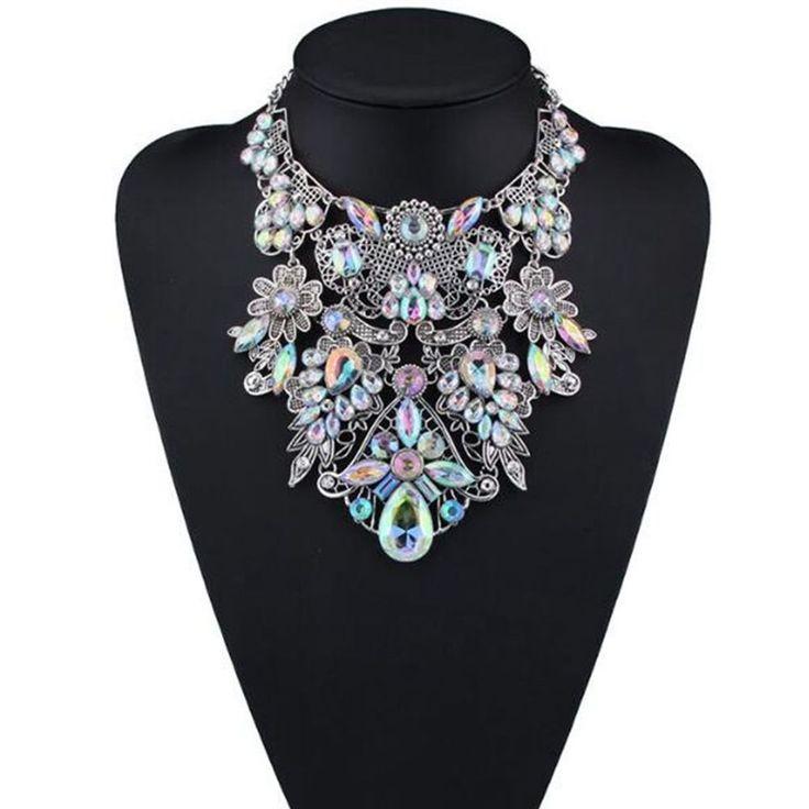 Fashion Crystal Flower Cluster Choker Women Maxi Statement Bib Collar Necklace #Unbranded #Choker