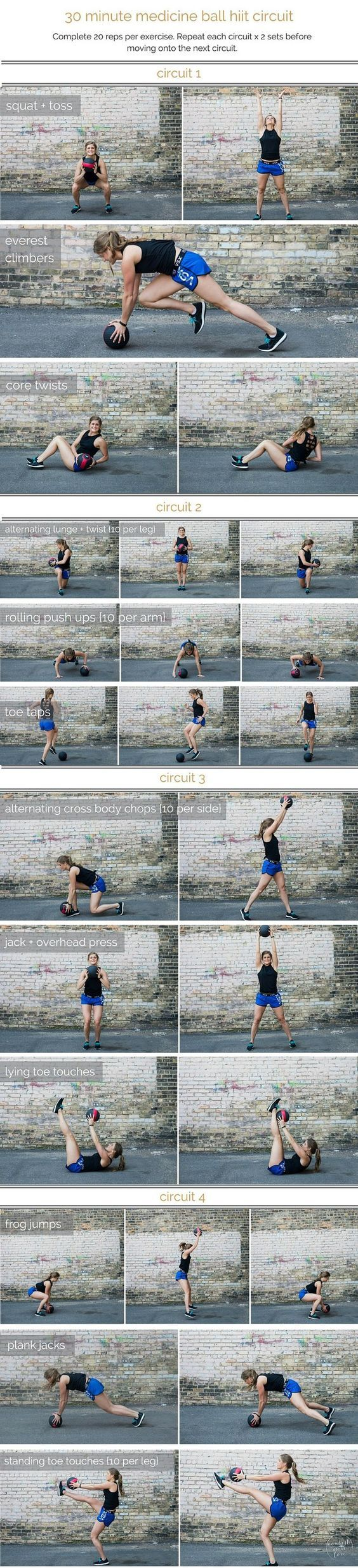 medicine ball hiit circuit workout | combine cardio, strength and stability in this medicine ball hiit circuit, a total body workout that you can do in 30 minutes or less. | http://www.nourishmovelove.com