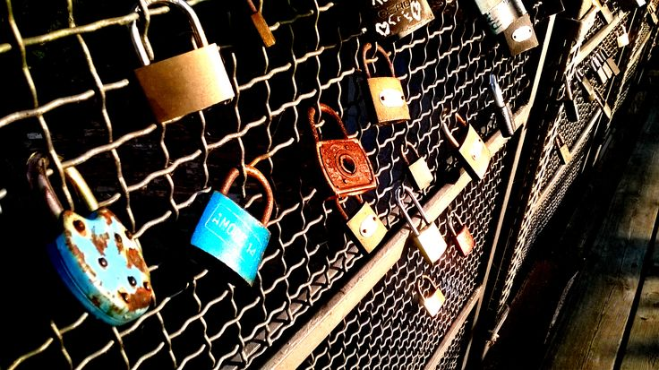 locked padlock as a sign of eternal love. but some of them are rusty...
