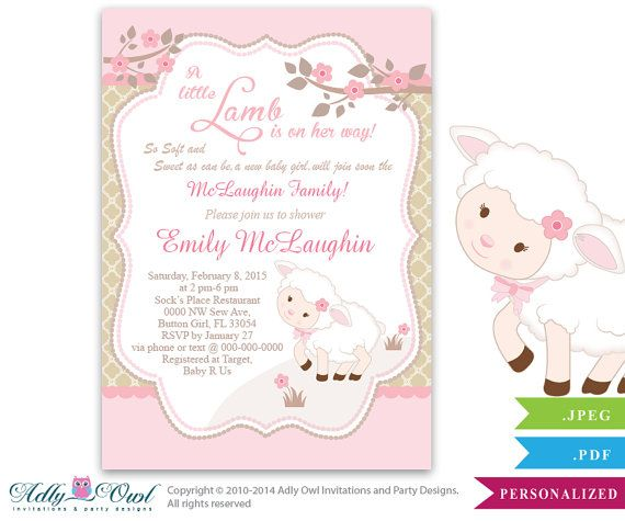 Little Lamb Girl Baby Shower Invitation for by aoprintablesforkids