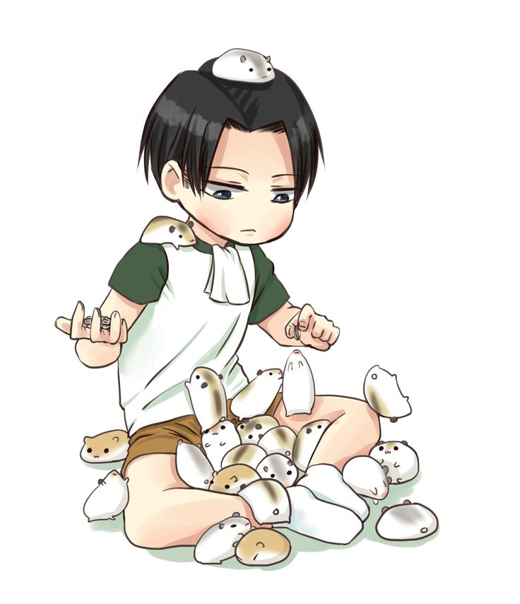 Levi with Hamsters! Even as a child, Levi still has a cravat.
