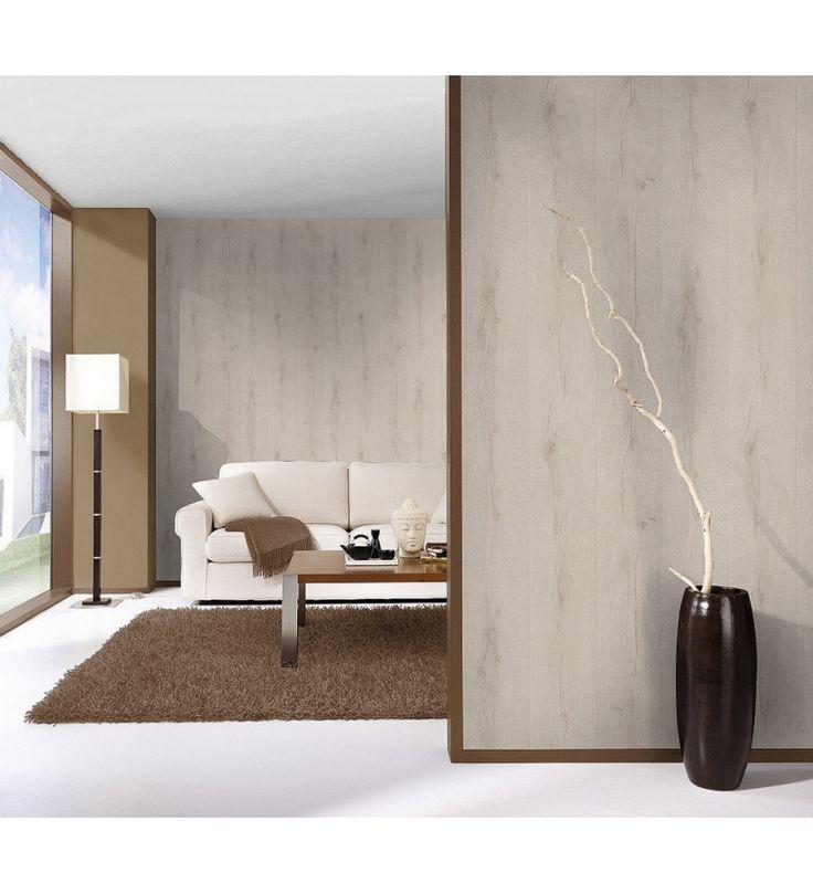 Papel pintado r stico imitaci n madera gris claro - Papel pintado imitacion madera ...
