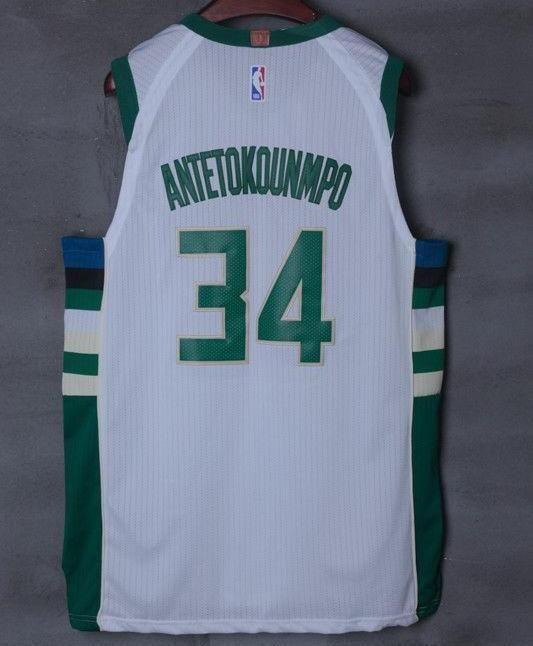 1c6278ca3 Men 34 Giannis Antetokounmpo Jersey White Milwaukee Bucks Player version