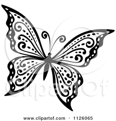 Clipart Of A Black And White Butterfly 29 - Royalty Free Vector ...