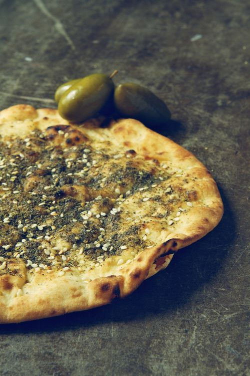 zaatar bread -  can use frozen pie crust, 5 tbls zaater, 5 tbls olive oil. Roll out dough, let stand covered for half an hour. Mix zaatar and oil and coat the top of each loaf. Bake 10 mins at 400...