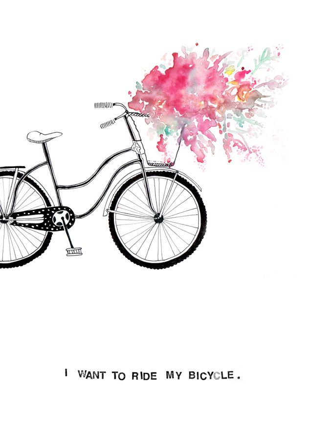 I want to ride my bicycle greeting card or wall print