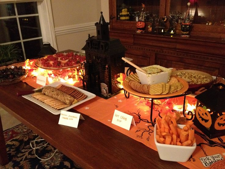 a Halloween buffet table