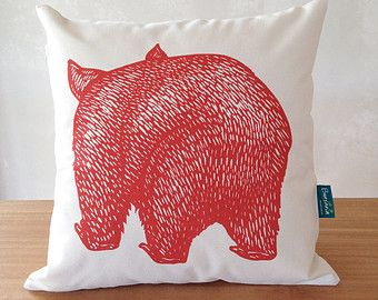 Organic wombat cushion cover // Wombat front and back cushion cover // Australian animal cushion cover