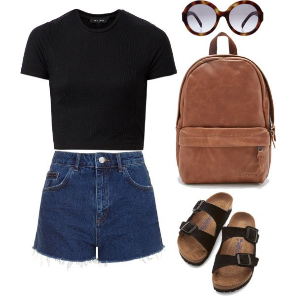 by agneslilian on polyvore featuring topshop, birkenstock, eastpak and prada