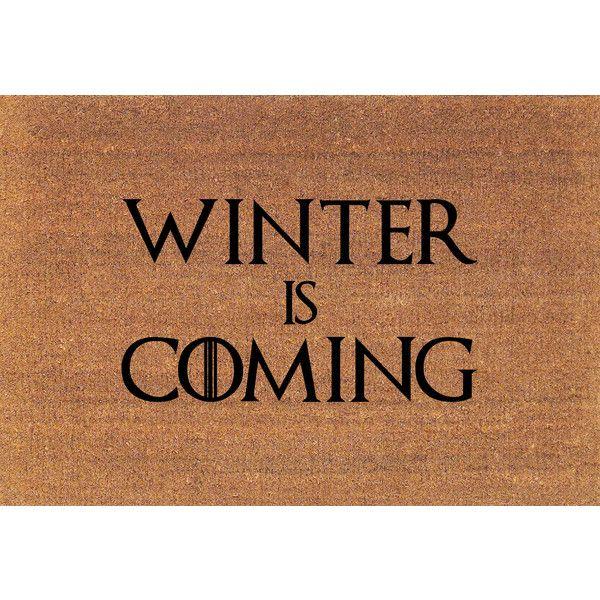 Winter Is Coming House Stark Game of Thrones Door Mat Coir Doormat Rug... ($38) ❤ liked on Polyvore featuring home, rugs, brown, floor & rugs, home & living, coir door mats, brown door mat, coir rugs, coconut fiber door mats and coco fiber mat