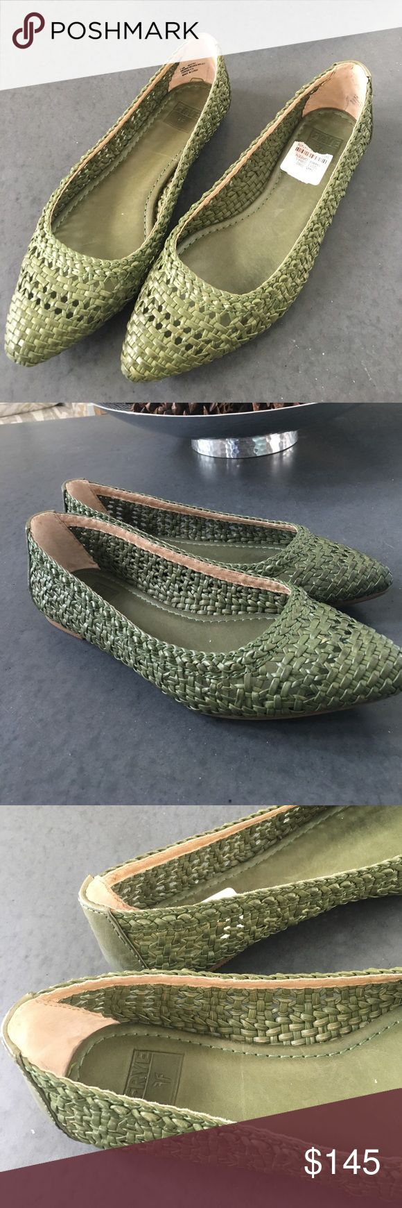"Frye Green Ballet Flat Woven leather ballet shoe by Frye. 1/4"" flat heel. Frye logo stamped at solid counter. Braided trim at collar. Almond toe. Leather insole. Rubber outsole. Frye Shoes Flats & Loafers"