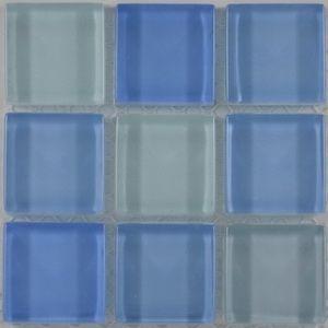 Product ID:OPUS23 Miki 1X1 Glass Blend Blue Mosaic #Profiletile