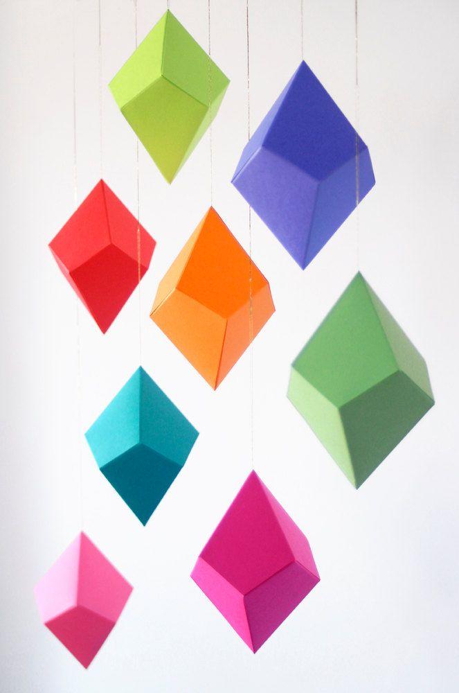 DIY Geometric Paper Ornaments.
