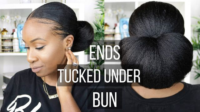 Hairlicious Inc Video Ends Tucked Under Protective Style Bun Relaxed Hair Relaxed Hair Healthy Relaxed Hair Thicken Relaxed Hair