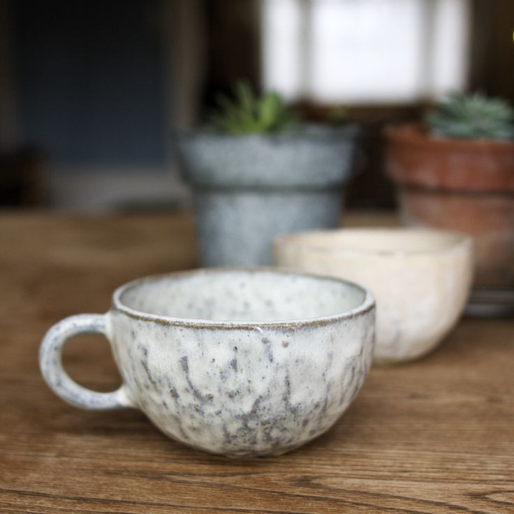 Pinch tea cup (1 of 4) Handbuilt in sanded buff stoneware and dipped in blush…