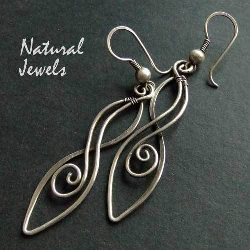 Earrings Totally Handcrafted From 925 Sterling Silver Wire An Elegant And Graceful Ornament On A