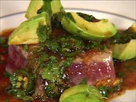 Get this all-star, easy-to-follow Pan-Seared Tuna with Avocado, Soy, Ginger, and Lime recipe from Tyler Florence