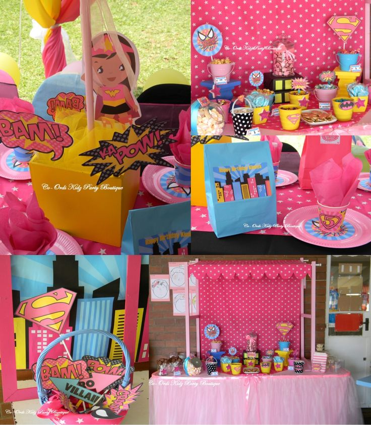 Super Girl party and Candy Table