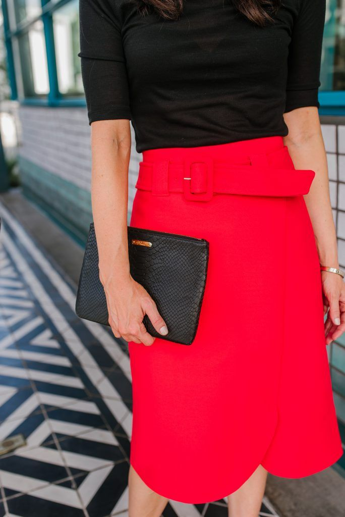 89e7062aa6 office outfit | red belted midi skirt | black clutch purse | Houston  Fashion Blogger Karen Kocich #officeoutfit #redskirt #blackclutch  #bloggerstyle ...