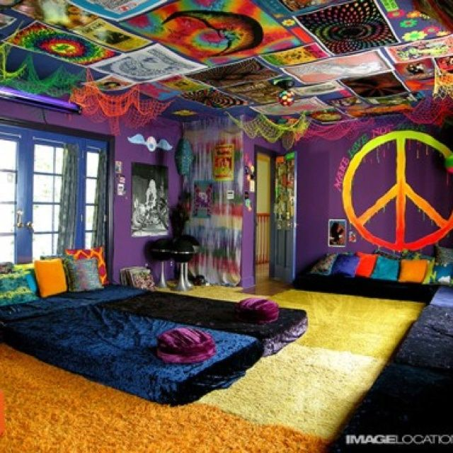 love this bedroommy favorite things color and peace signs love the idea of the material posters on the ceiling for paiges rm