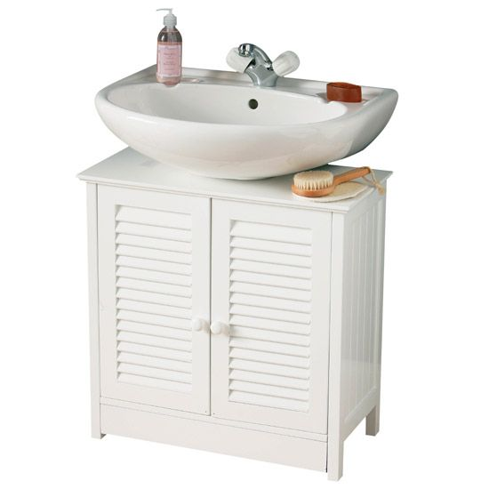 The stylish White Wood Double Shutter Door Under Sink Cabinet will transform the look of your bathroom. Now available to buy from Victorian Plumbing.co.uk.