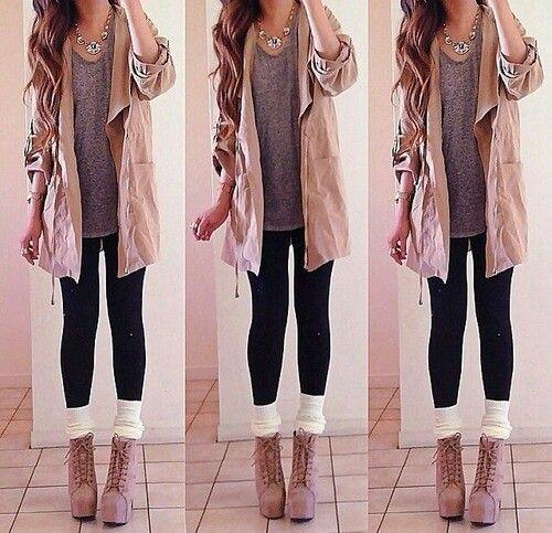 So cute!!! Long gray shirt, tan cover u0, black leggings, white leg warmers, tan ankle boots
