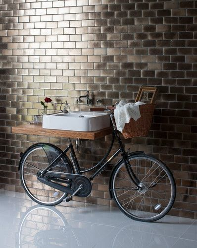 Add unique style to your bathroom - Pashley Bicycle with 600mm basin & tap from Arcade Bathrooms. Unique bathroom with a bike as a sink.