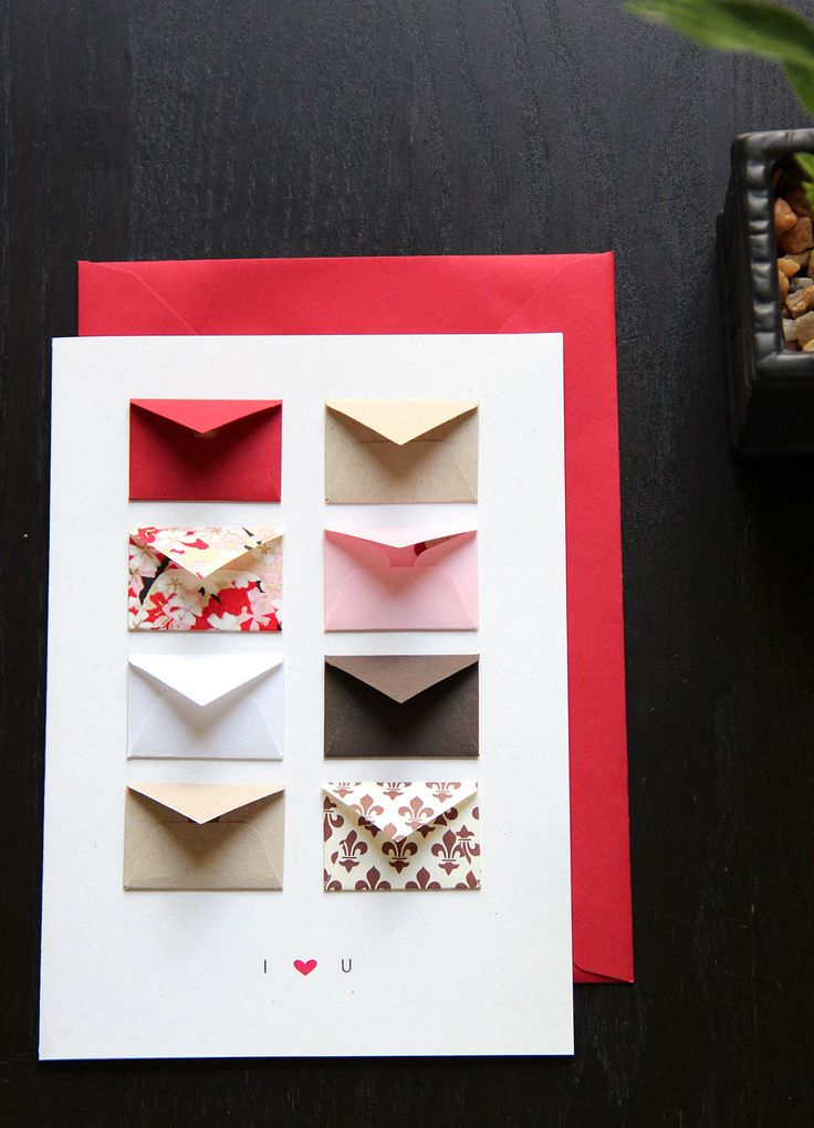 I Love You - Tiny Envelopes Card with Custom Messages. Could use  as Anniversary Card Idea: one mini envelope for each year together to write a favorite memory from that year