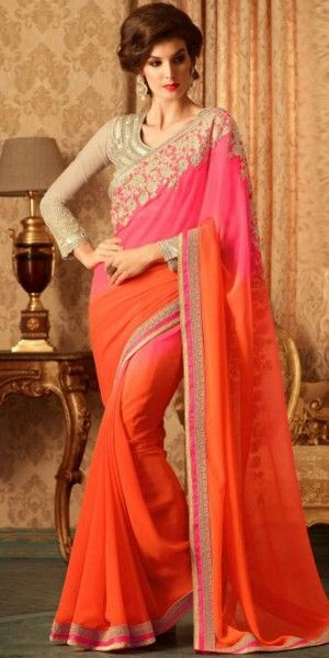 Luscious Pink And Orange Georgette Saree With Blouse.