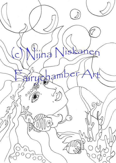 Mermaid Dreams - Digital Stamp - Instant Download - Fantasy Art - Lineart for cards and crafts - by Niina Niskanen