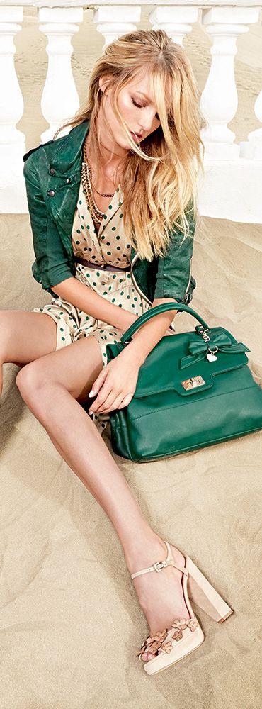 San Remo Green Polka Dot Dress S/S 2014