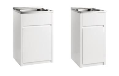 Range of Laundry Tub with PVC Waterproof Cabinet & Satin Finish Stainless Steel Laundry Tub available in 600x500x870mm or 455x555x870mm. Laundry unit with PVC cabinets have many advantages over other material: Termite and waterproof Highly durable Low maintenance Damp proof. Contact Bathrooms and Kitchens Builders Express Underwood, website www.bathroomsnkitchens.com.au
