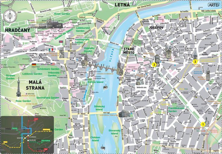 """""""Prague Map Czech Republic"""" Historical City Center. 2009."""