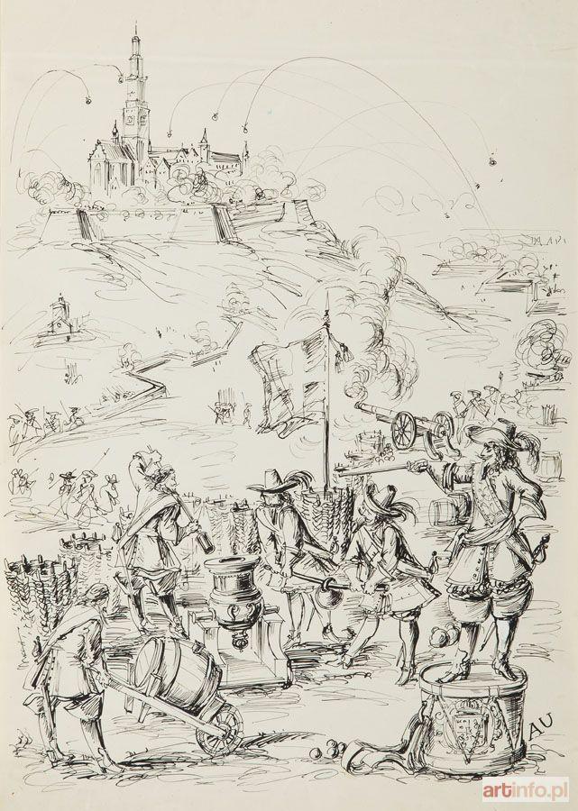 Antoni UNIECHOWSKI ● Oblężenie Jasnej Góry - ilustracja do Potopu Henryka Sienkiewicza ●