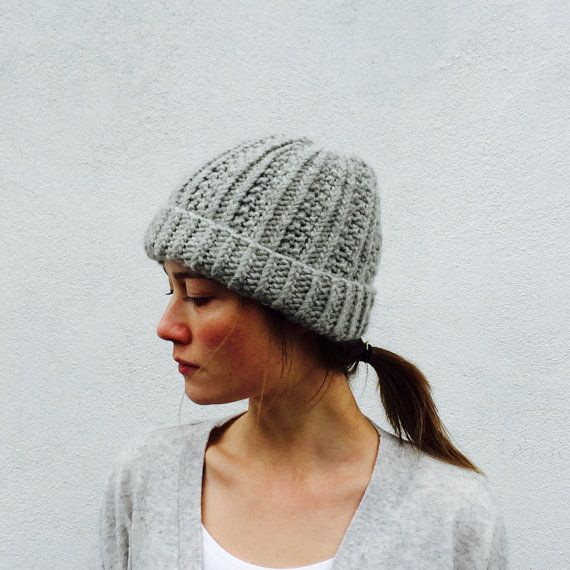 Chunky Grey knitted hat/ slouchy/knitted /Helene by ClaireDAlbert