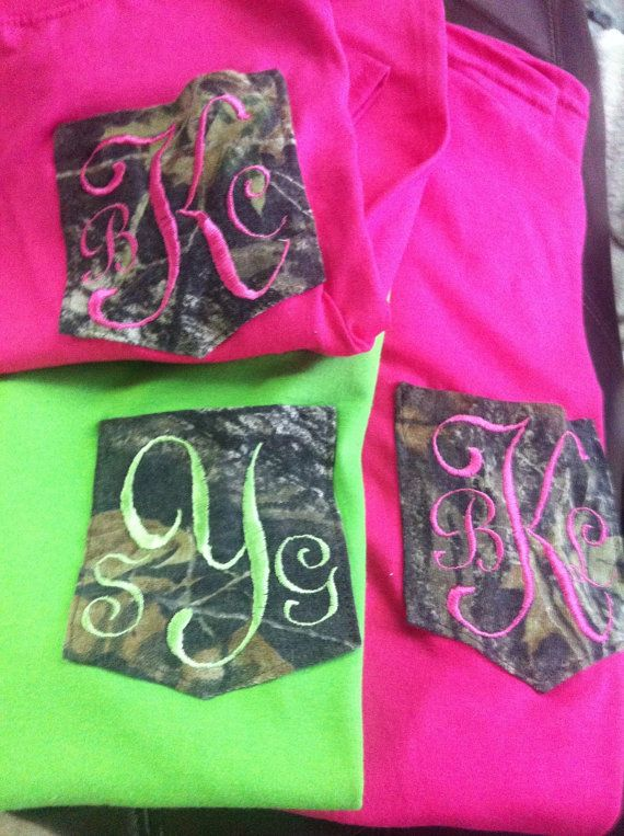 Cute for brides & bridesmaids. Camo monogrammed pocket tee by DP914DESIGNS on Etsy, $16.00