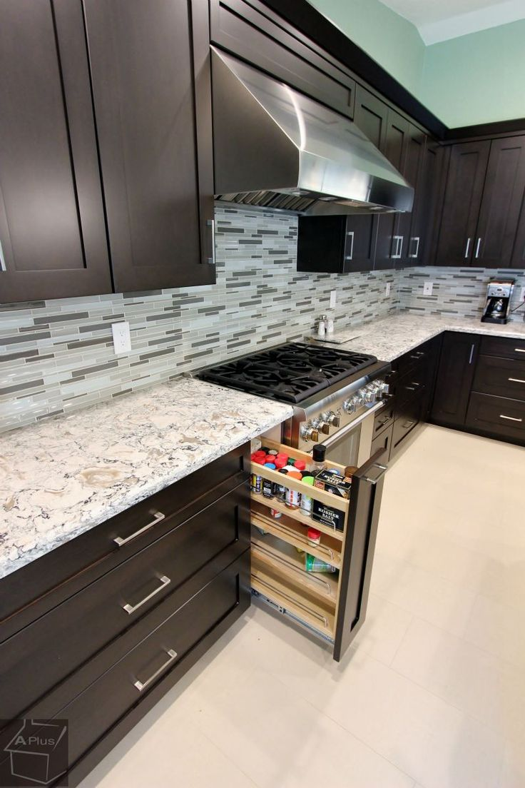 Custom Dark Color Cabinets With Thermador Appliances In Rowland Heights Orange  County