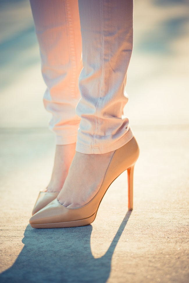 Louboutins - nude with orange sole