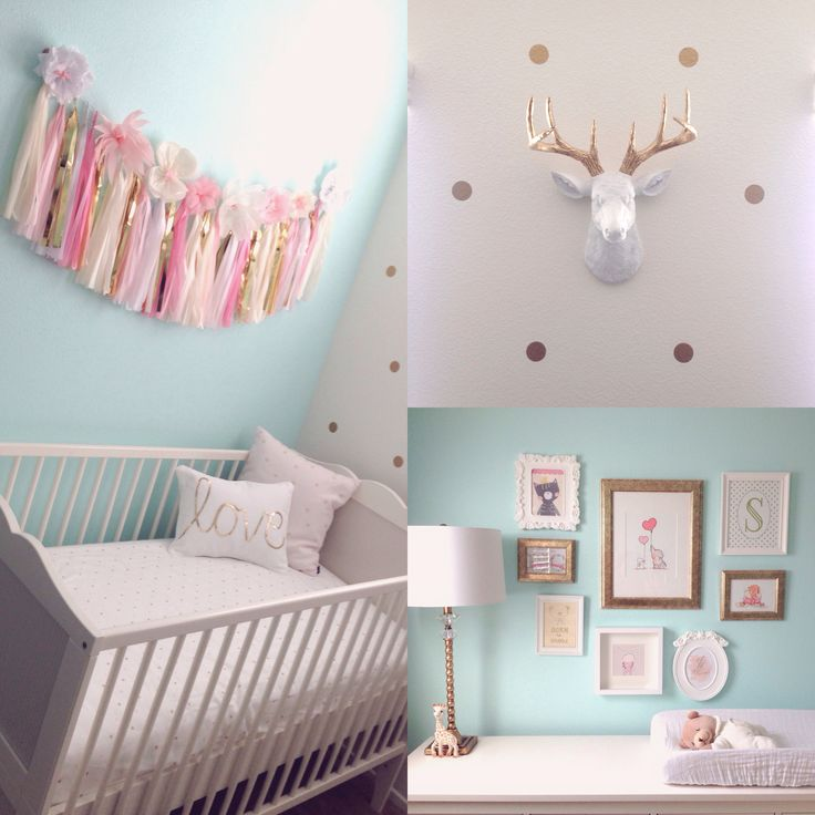 Mint & gold nursery. Crib from IKEA. Pink tissue garland from ETSY (shophaha) White faux deer head from ETSY (whitefauxtaxidermy) Wall frames from IKEA Gold polka dot wall decals from ETSY (urbanwalls)
