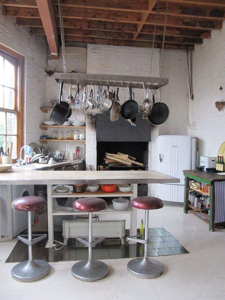 Airy Bohemian loft warehouse kitchen ... in an eclectic industrial style. See more here; http://pinterest.com/vondebourgh/perfectly-imperfects-no5/