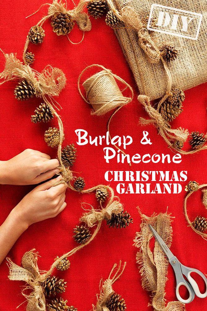 DIY Burlap Pine Cone Christmas Garland – Top Easy Interior Decor Design Project - DIY Craft (2)
