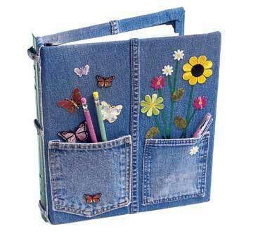 Denim notebook - cute idea for Brownie binders - teach the Brownie a Smile song.
