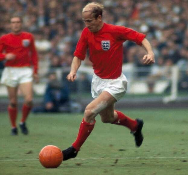 Bobby Charlton of England in action in the 1966 World Cup Final.