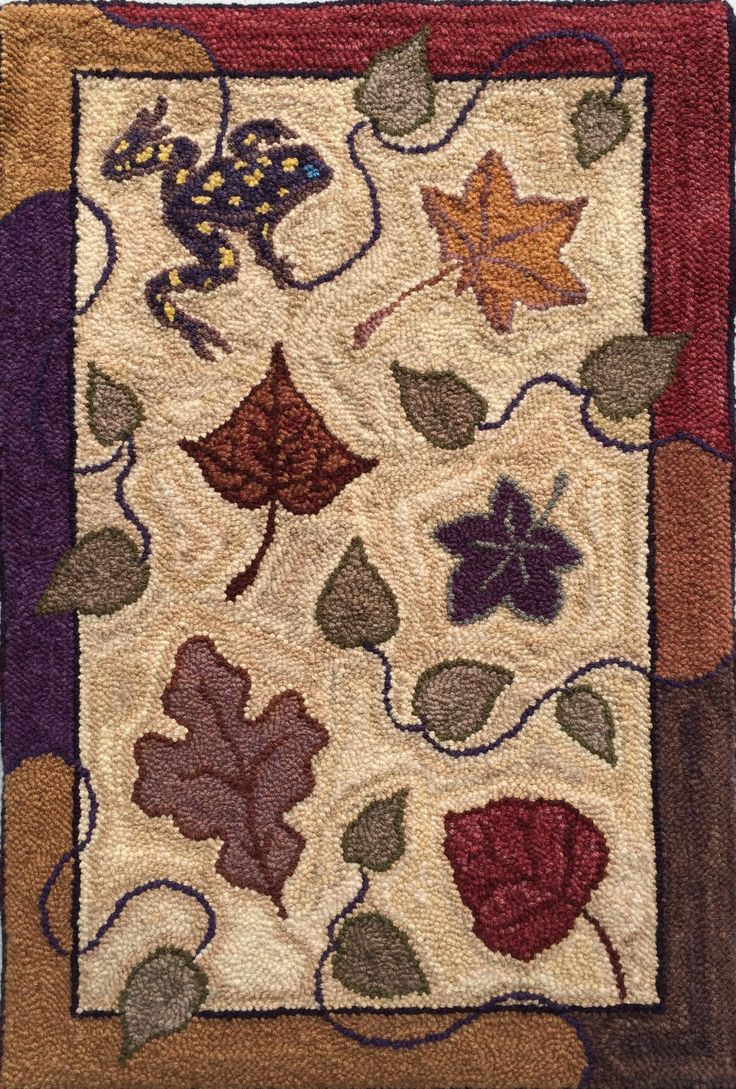 hand dyed with natural dyes, teacher certification rug (Oxford Rug Hooking School) punch needle, made by Pat Merritt 2014