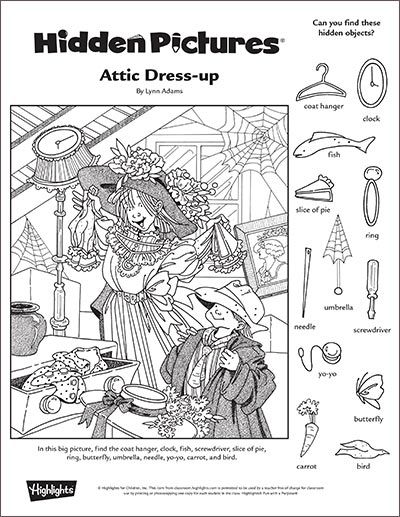 """Attic Dress-up"" A Printable Hidden Pictures Puzzle"