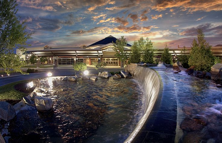 Outside Evening image of Front Entrance and Fountains - Sevierville Convention Center