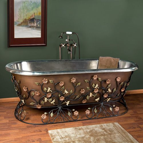 "72"" Flora Freestanding Copper Tub with Wrought Iron Stand  - Nickel Interior"