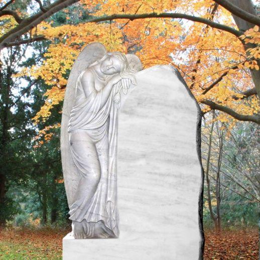 Einzigartiger Marmor Grabstein mit Engel »Cecilia« • Qualität & Service direkt vom Bildhauer • Jetzt Grabstein online kaufen bei ▷ Serafinum.de