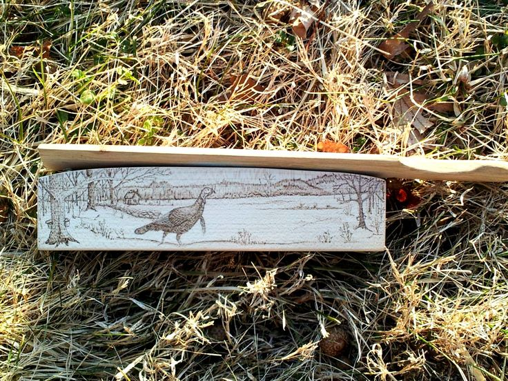 Custom sugar maple turkey box call with wood burning art