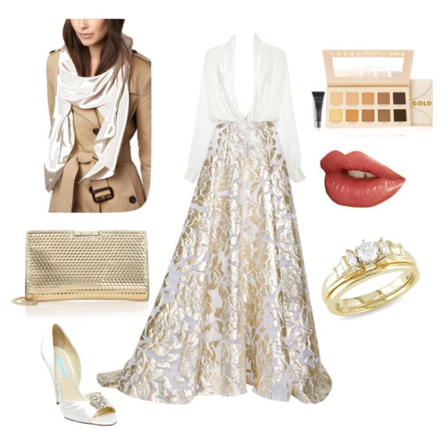 Golden evening outfit for A covered woman